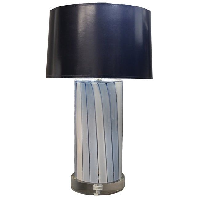 Cilindro Blue and White Stripe Glass Lamp For Sale - Image 4 of 4