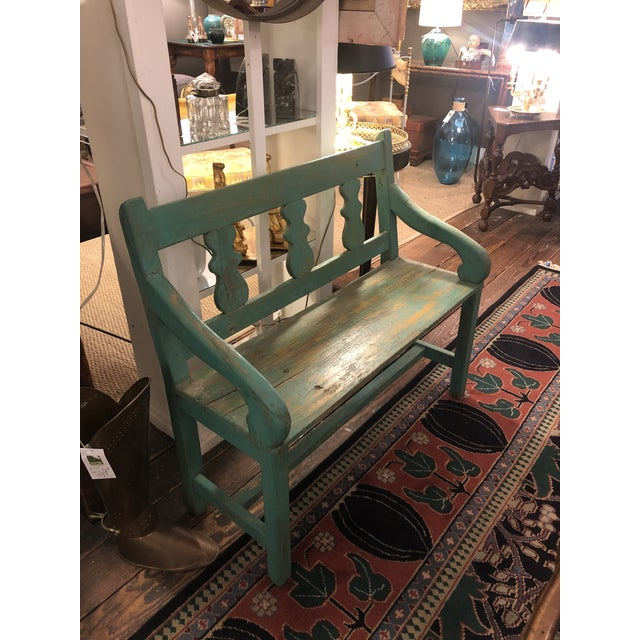 Distressed Turquoise Antique Santa Fe Bench For Sale In Philadelphia - Image 6 of 13