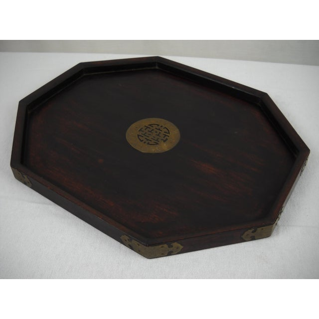 Asian Wood and Brass Serving Tray - Image 2 of 8
