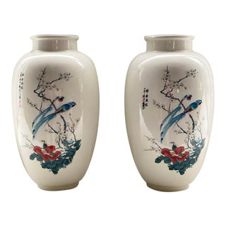Chinese White Porcelain Vases With Birds and Cherry Blossoms - a Pair For Sale