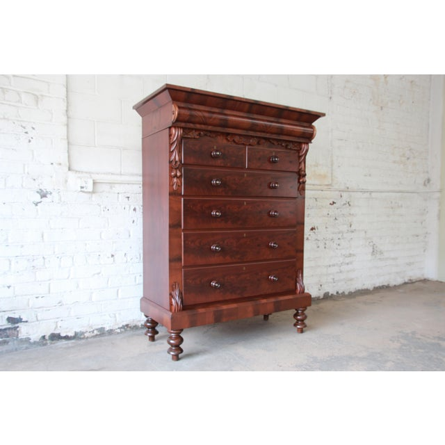 Empire Immaculate American Empire Flame Mahogany Highboy Chest of Drawers, Dated 1886 For Sale - Image 3 of 13