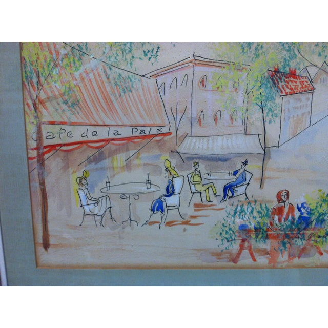 "1950s 1950s Vintage ""Cafe De La Paix"" Framed & Matted Hand-Colored Drawing For Sale - Image 5 of 7"