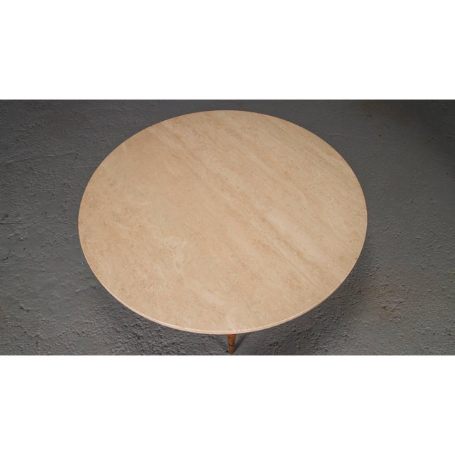 Brown Round Travertine Cocktail Table by Paul McCobb for the Connoisseur Collection For Sale - Image 8 of 8