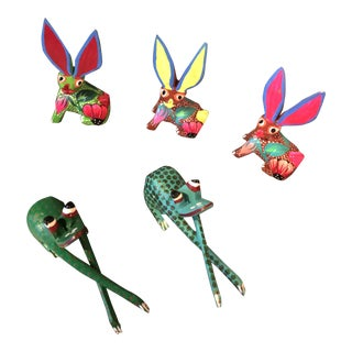 Mexican Rabbits and Frogs Alebrijes - Set of 5 For Sale