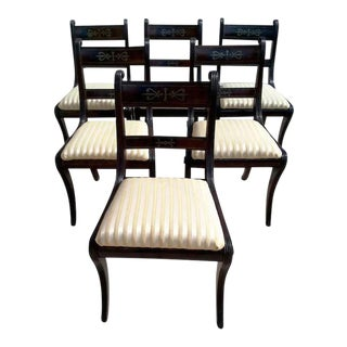 Regency Style Mahogany Dining Chairs With Inlaid Brass - Set of 6 For Sale