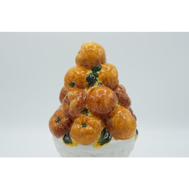 Mid 20th Century Italian Ceramic Fruit Topiary Basket of Oranges For Sale - Image 5 of 8