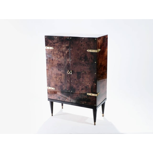 Bar Cabinet in Goatskin Parchment by Aldo Tura, 1960s For Sale - Image 6 of 12