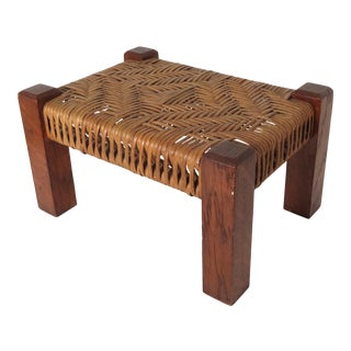 Antique American Oak & Woven Reed Arts & Crafts Foot Stool For Sale