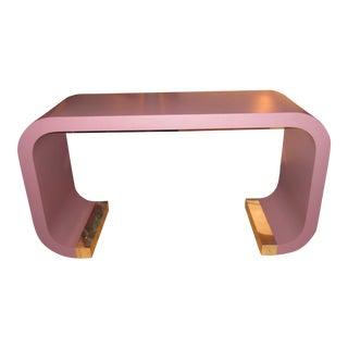 Vintage Postmodern Lavender Mauve Pink-Purple Waterfall Console Table For Sale
