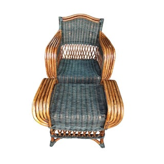 """Art Deco Wicker & Rattan Armchair and Ottoman President's Style Deco Green and Natural Wicker Armchair and Footstool French """"Grange"""" Rattan Armchair Preview"""