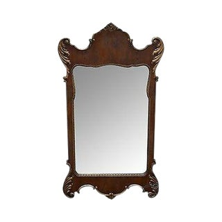 Old Colony Georgian Chippendale Style Yew Wood Frame Mirror For Sale
