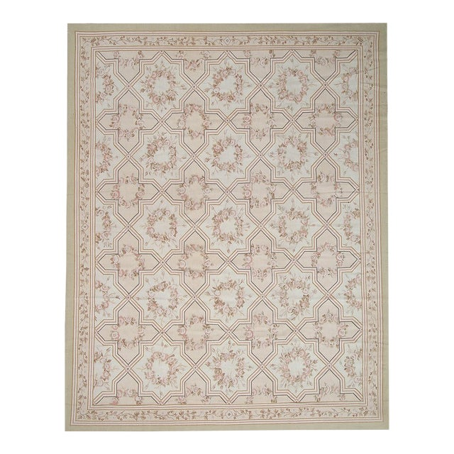 "Pasargad Aubusson Hand-Woven Wool Runner - 2'11"" x 10' 2"" For Sale"