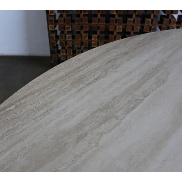 Angelo Mangiarotti Travertine Oval Dining Table Circa 1980 For Sale - Image 4 of 11