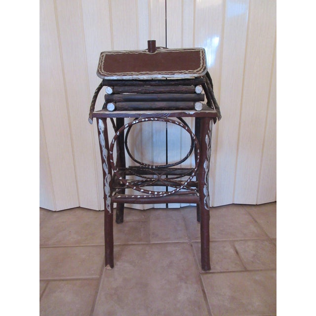 Tramp Art Twig Smoking Table For Sale - Image 5 of 11