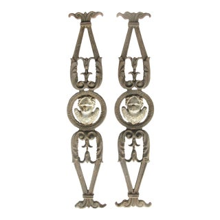 19th C. French Iron Architectural Elements, Pair For Sale