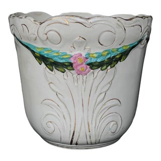 Vintage Victorian Porcelain Floral Motif Indoor Jardiniere Planter For Sale
