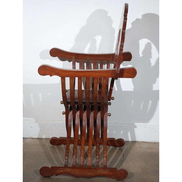 Islamic Moorish Syrian Brass Inlaid Armchair For Sale - Image 3 of 8