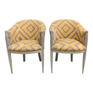 1940s Vintage French Art Deco Mahogany Gondola Accent Chairs- A Pair For Sale