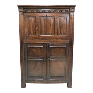 Early 20th Centruy Antique English Linen Fold Wood Cocktail Cabinet For Sale