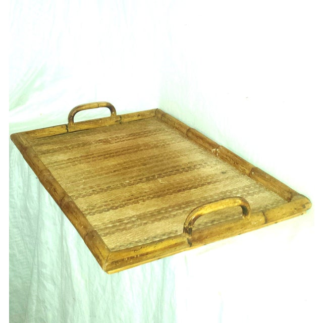 Boho Chic Vintage Bamboo Serving Tray For Sale - Image 3 of 8