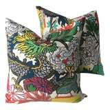 Image of Chiang Mai Dragon Alabaster Linen Pillows - A Pair For Sale