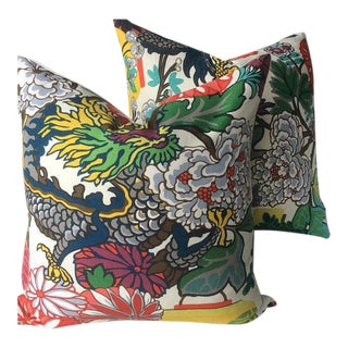 Chiang Mai Dragon Alabaster Linen Pillows - A Pair For Sale