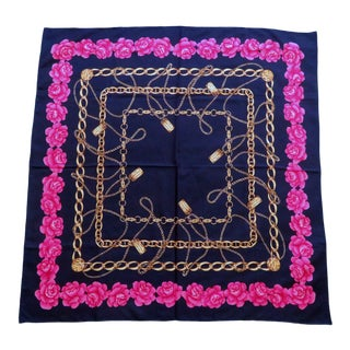 """Vintage Navy Blue Chanel """"31 Rue Cambon"""" Silk Scarf With Peony Border For Sale"""