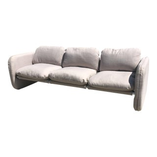 1980s Vintage Milo Baughman Style Tubular Chrome Sling Three-Seat Sofa For Sale
