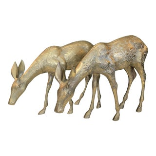 Pair of Large Brass Deer For Sale