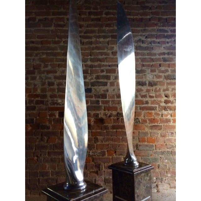 Tall Polished Chrome Airplane Propeller Blades Sculptures - A Pair For Sale - Image 6 of 11