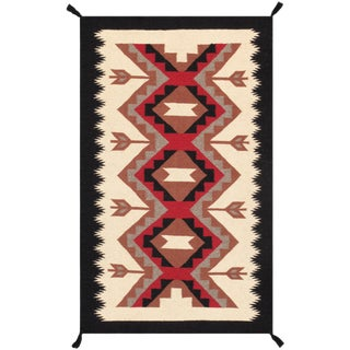 Contemporary Navajo Style Wool Area Rug - 3′ × 4′11″ For Sale