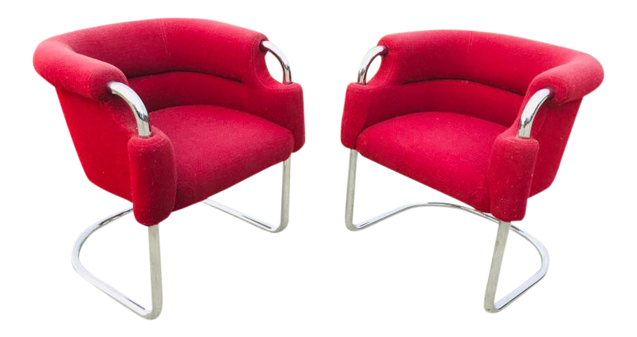 Art deco office chair Chrome 1970s Midcentury Modern Tubular Red Upholstery And Chrome Cantilever Lounge Chairs Pair Chairish Vintage Used Art Deco Office Chairs Chairish