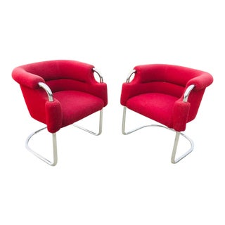 1970s Mid-Century Modern Tubular Red Upholstery and Chrome Cantilever Lounge Chairs - a Pair For Sale