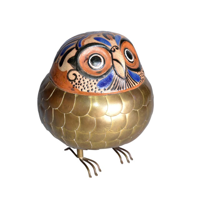 Brass and Pottery Hand Crafted Owl - Image 1 of 8