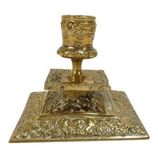 Antique European Solid Brass Ornate Leaf & Fleur De Lis Design Candle Holder For Sale