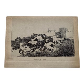 "Early 19th Century Francisco De Goya Y Lucientes (1746-1828) Plate # 22 ""Tanto Y Más"" (So Much and Even More) Print For Sale"