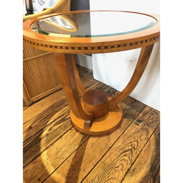 1980s Art Deco Wood and Bevelled Glass Round End Table For Sale - Image 5 of 7