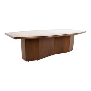 Mid Century Hexagonal Burlwood and Walnut Pedestal Conference Dining Table For Sale