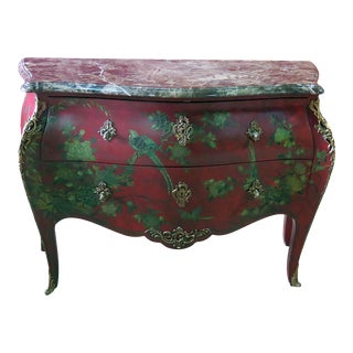 Marble Top Green Paint Decorated Bombe Red Commode For Sale