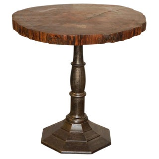 Tree Cross Section Table with Iron Base For Sale