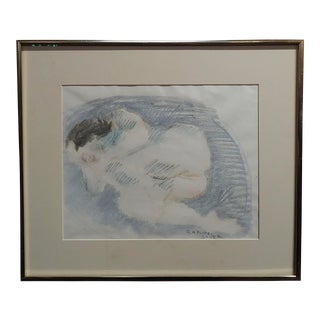 """Raphael Soyer """"Reclining Nude"""" Colored Pencil Drawing For Sale"""