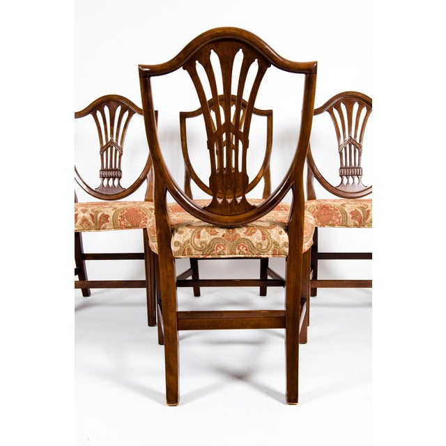 Hollywood Regency Solid Mahogany Wood Shield Back Dining Chairs - Set of 4 For Sale - Image 3 of 13