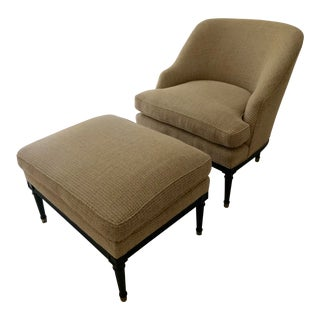 Traditional Curved Chair & Ottoman - 2 Pieces For Sale