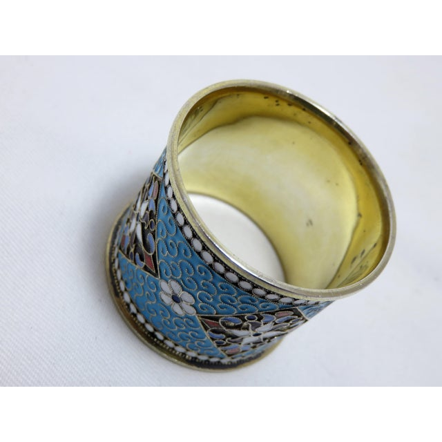 French Antique Russian Silver Enameled Napkin Ring For Sale - Image 3 of 7