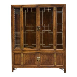 Vintage Henredon Walnut China Cabinet For Sale
