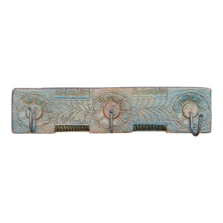 Blue Lotus Carved Wall Hook For Sale