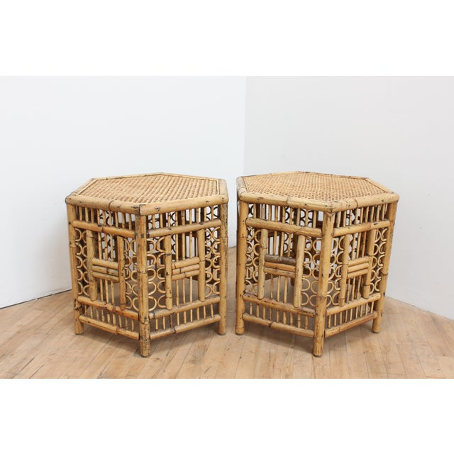 Chinese Chippendale Hexagonal Side Tables- Brighton Pavilion Pair For Sale - Image 9 of 10