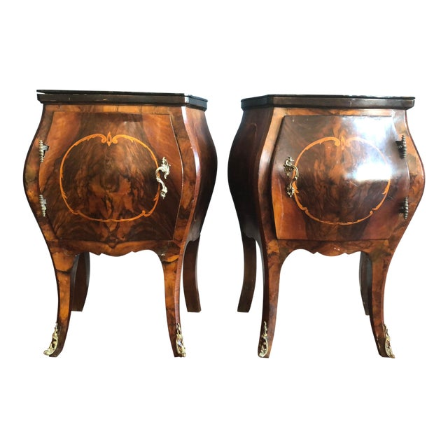 Circa 1930's Louis XV Style Bombe Nightstands With Inlay Marquetry and Ormolu Ornamentation- Pair For Sale