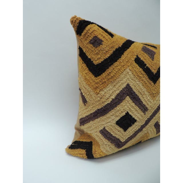 Tribal woven and embroidery African decorative artisanal textile pillow. Over all square woven design in straw...