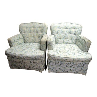 1950s Mid Century Upholstered Brocade Arm Chairs - a Pair For Sale